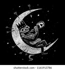 Dead skeleton king drinks alcohol on the moon. Holidays day of the dead. Black and white illustration print on t-shirt, picture for book cover.