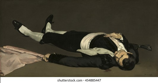The Dead Toreador, by Edouard Manet, 1863, French painting, oil on canvas. The figure was originally in the foreground of larger composition called 'Incident in a Bullfight'. Manet cut up the paintin