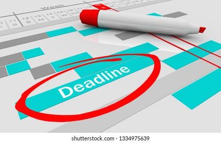 Deadline Due Date Tracking Chart 3d Illustration