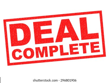 DEAL COMPLETE red Rubber Stamp over a white background.