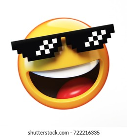 """Deal with it"" emoji isolated on white background, emoticon with pixelated sunglasses 3d rendering"