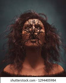 Death bush,Ghost woman with bush or dead tree in her mouth,3d illustration