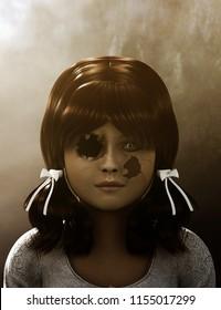 Death doll,3d illustration conceptual background
