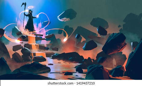 the death floating with his magic in hell, digital art style, illustration painting