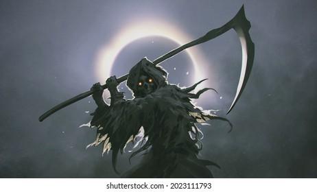 The Death as know as Grim Reaper, das die Scythe vor der Finsternis auf dem Hintergrund hält, digitale Art Stil, Illustration