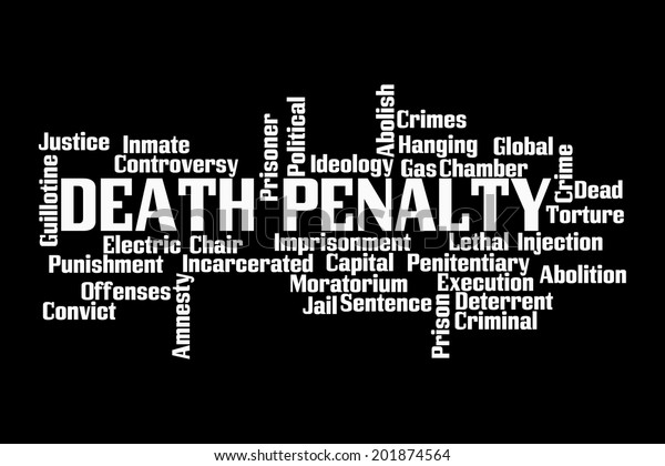 Death Penalty Word Cloud On Black Stock Illustration 201874564