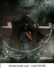 Death's innocent,Ghost woman in ruin building,3d illustration for book illustration or book cover