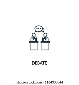 debate concept line icon. Simple element illustration. debate concept outline symbol design from Elections set. Can be used for web and mobile UI/UX