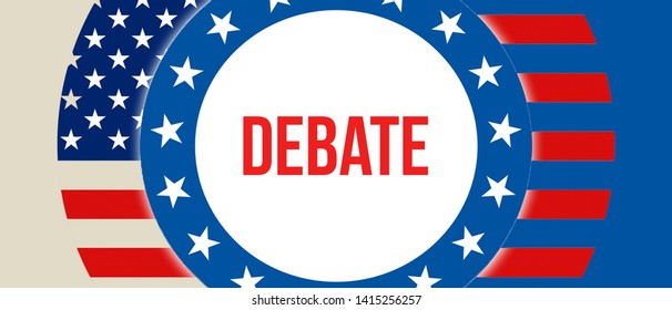 debate election on a USA background, 3D rendering. United States of America flag waving in the wind. Voting, Freedom Democracy, debate concept. US Presidential election banner