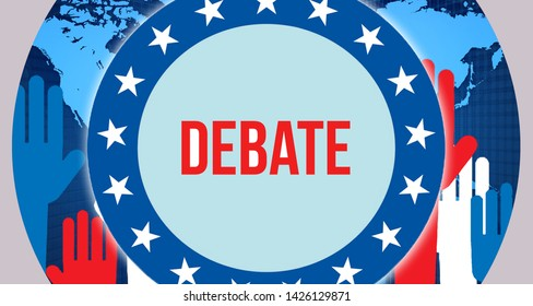 debate election on a World background, 3D rendering. World country map as political background concept. Voting, Freedom Democracy, debate concept. debate and Presidential election banner