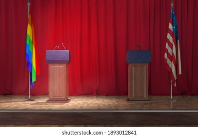 Debate rostrum on red background 3d illustration
