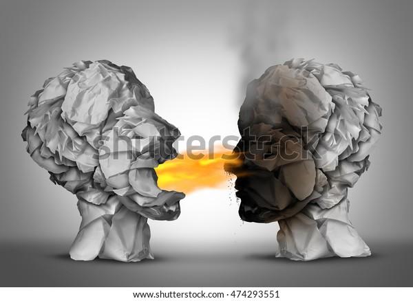 Debattiersieger und Brandstiftung Sprache oder gewinnen ein Argument oder diskutieren Ideen als eine Gruppe zerbrochenes Papier geformt wie ein menschlicher Kopf brennt Flammen mit 3D-Illustrationen.