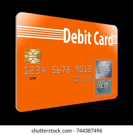 Debit card isolated on background.