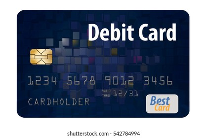 Debit card isolated on a white background. This is a mock, generic safe to publish debit card.
