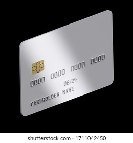Debit card mock up. Blank white credit card template on black background. parallel projection. 3d render