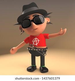 Debonair punk rock cartoon character wearing a trilby pork pie hat, 3d illustration render