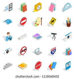 Debriefing icons set. Isometric set of 25 debriefing icons for web isolated on white background