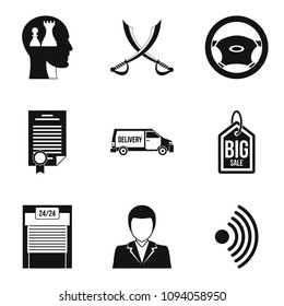 Debriefing icons set. Simple set of 9 debriefing icons for web isolated on white background