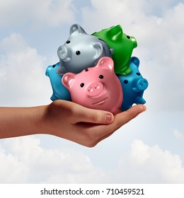 Debt consolidation as a hand holding a group of diverse piggy banks as an accounting financial concept to combine credit loans and savings for managing finances with 3D illustration elements.