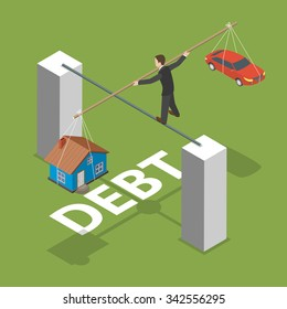 Debt isometric flat concept. Man walks by thin stick balancing over the abyss with a house and a car.
