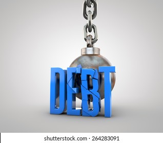Debt text being destroyed by wrecking ball