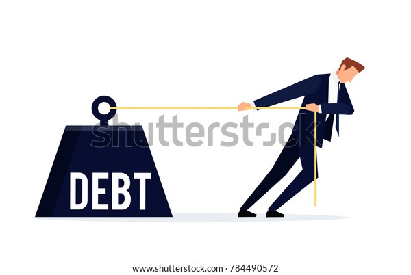 Debtor. Businessman is pulling a huge weight with a debt. Business concept debtor in a flat style. Raster illustration.