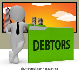 Debtors Folder Character Indicating Lender Debt 3d Rendering