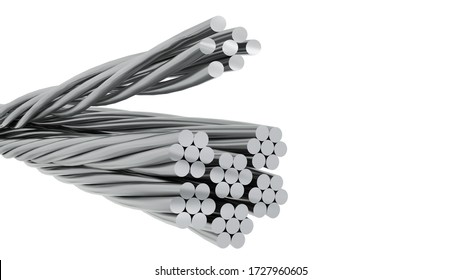 Decadent bare aluminum cable isolated on white background. Aluminum cable electric of high voltage isolated on white background. clipping part. 3d render.