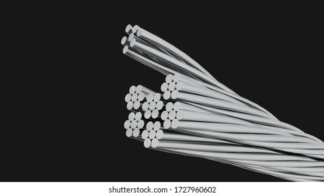Decadent bare aluminum cable on black background. Aluminum cable electric of high voltage on black background. clipping part. 3d render.