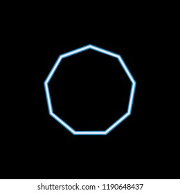 decagon... icon in neon style. One of geometric figure collection icon can be used for UI, UX on black background