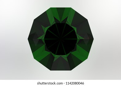 Decagonal dark green gemstone on gray background top view. 3D render
