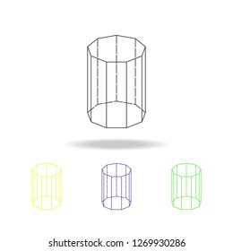 decagonal prism colored icon. Can be used for web, logo, mobile app, UI, UX