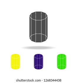 decagonal prism colored icons. Elements of Geometric figure colored icons. Can be used for web, logo, mobile app, UI, UX
