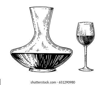 Decanter and wine engraving raster illustration. Scratch board style imitation. Hand drawn image.