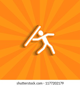 Decathlon icons arranged in a circle pictogram.  icon with shadow for web and mobile. throwing a pole icon