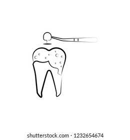 decayed tooth, dental icon. Element of dantist for mobile concept and web apps illustration. Hand drawn icon for website design and development, app development