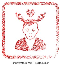 Deceived Horned Husband rubber seal stamp imitation. Human face has dolour mood. Scratched red stamp imitation of deceived horned husband.