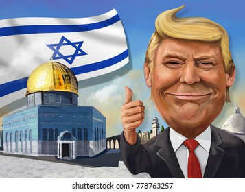 December 17, Jerusalem themed cartoon of Donald Trump - Illustration of the American President