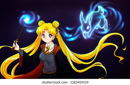 December, 18, 2018. Illustration of Sailor Moon wearing Hogwarts uniform, with magic wand and magic rabbit patronus. Wallpaper illustration.