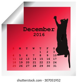 December 2016 Calendar with black cat silhouette