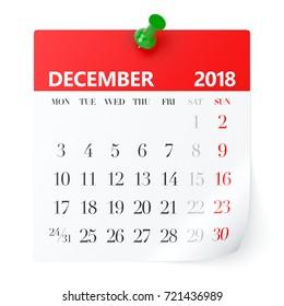 December 2018 - Calendar. Isolated on White Background. 3D Illustration