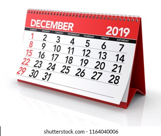 December 2019 Calendar. Isolated on White Background. 3D Illustration