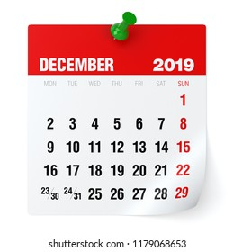 December 2019 - Calendar. Isolated on White Background. 3D Illustration