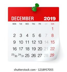 December 2019 - Calendar. Isolated on White Background. 3D Illustration