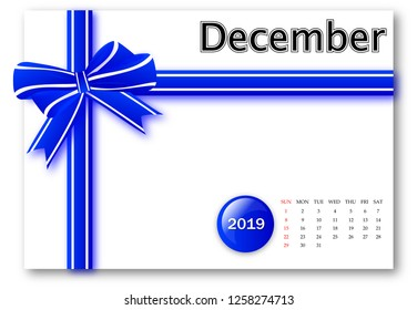 December 2019 - Calendar series with gift ribbon design