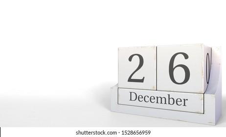 December 26 date on wood bricks calendar. 3D rendering