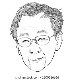 December 29, 2019 Caricature of Speaker of Parliament, President of the National Assembly, Former prime minister of Thailand, Chuan leek pai Portrait Drawing Illustration.