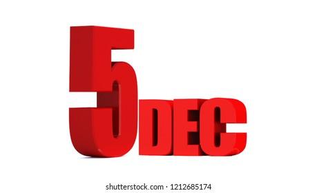 december 5. 3d 5 december text on white background. 3D illustration.