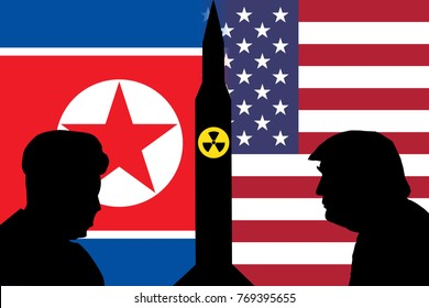 DECEMBER 6, 2017: An illustration showing silhouettes of US President Donald Trump and North Korean Supreme leader Kim Jong Un with their national flags at the background,