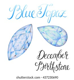 December birthstone Blue Topaz isolated on white background. Close up illustration of gems drawn by hand with colored pencils. Realistic faceted stones.